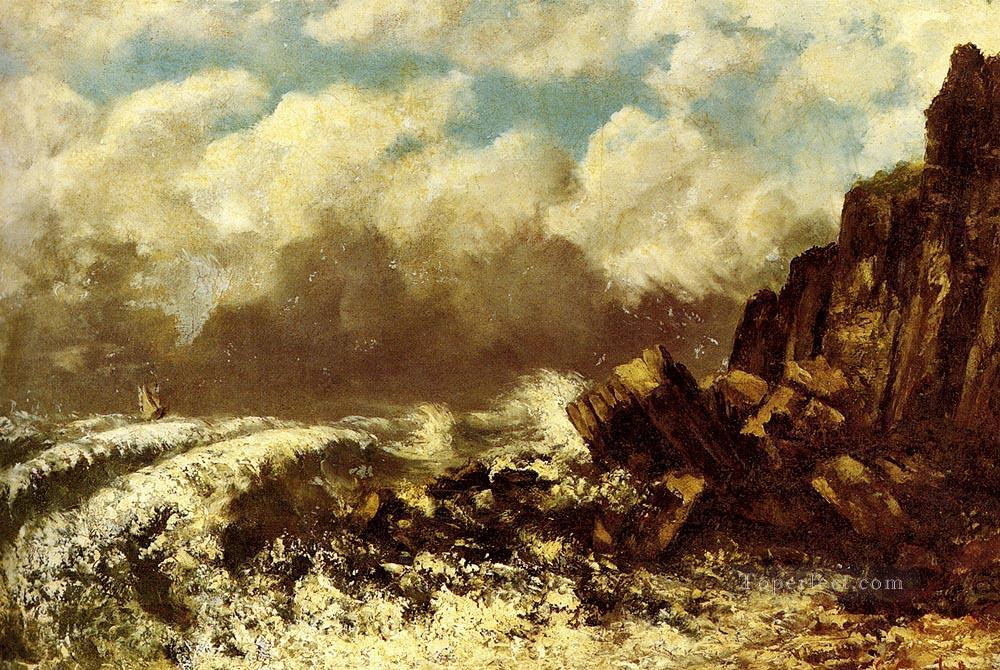 Marine A Etretat Realist painter Gustave Courbet Oil Paintings